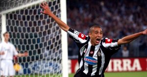 Juventus' David Trezeguet celebrates scoring the opening goal