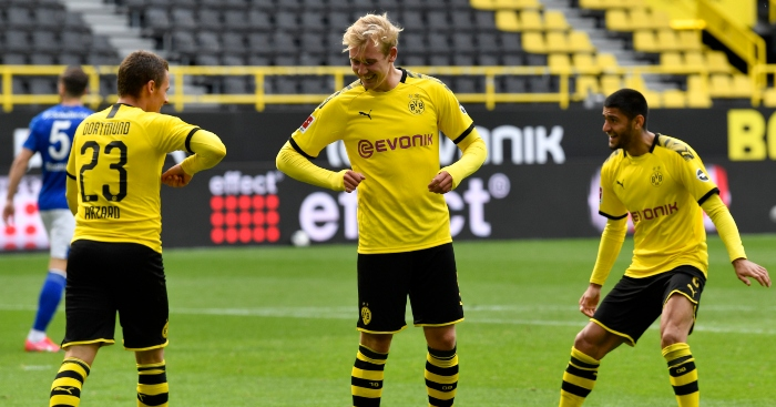 Brandt celebrates with his teammates