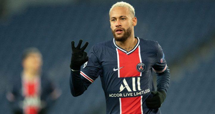 Neymar celebrates scoring for Paris Saint-Germain in the Champions League. December 2020.