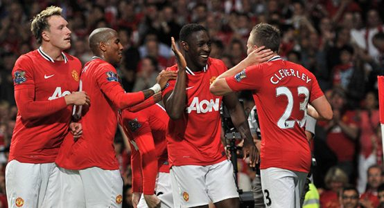 Phil Jones, Ashley Young, Danny Welbeck and Tom Cleverley