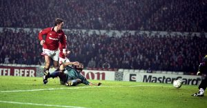 Lee Sharpe backheel goal v Barcelona
