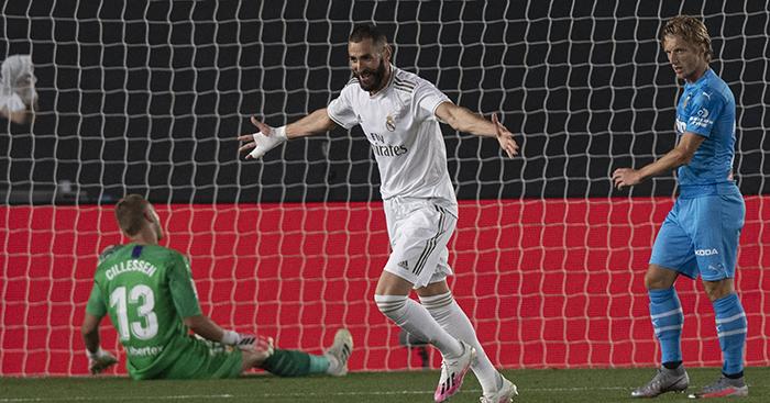 Karim Benzema celebrates