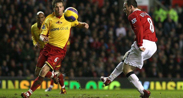 Wayne Rooney chips Ben Foster