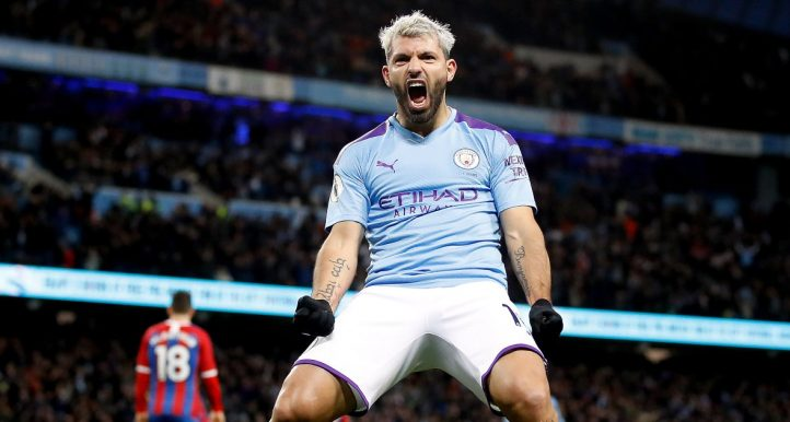 Sergio Aguero celebrates after scoring for Manchester City