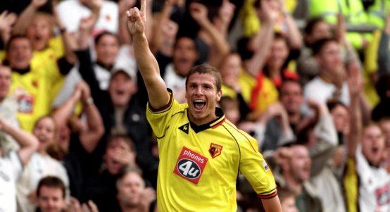 Watford defender Neil Cox celebrates