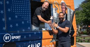 James Richardson serves Rio Ferdinand ice cream