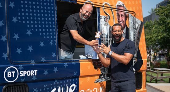 James Richardson serves Rio Ferdinand ice cream