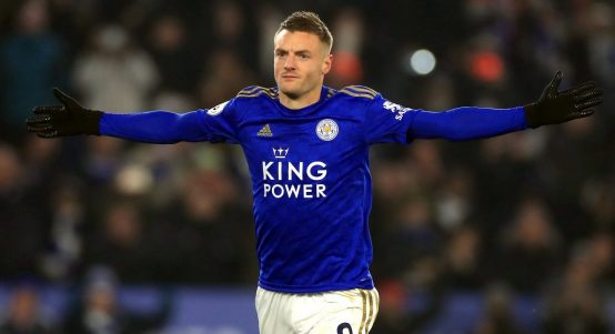 Jamie Vardy celebrates scoring for Leicester against Watford. November 2019.