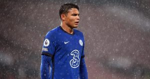 Chelsea's Thiago Silva playing against Manchester United.