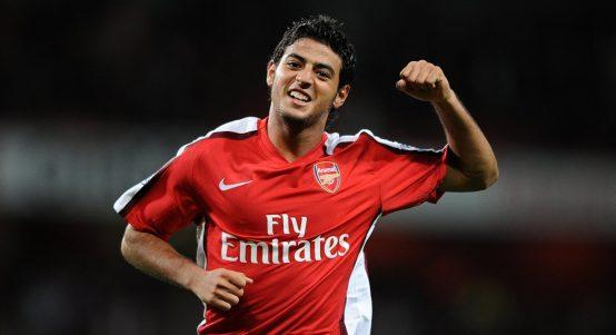 Carlos Vela celebrates after scoring for Arsenal.