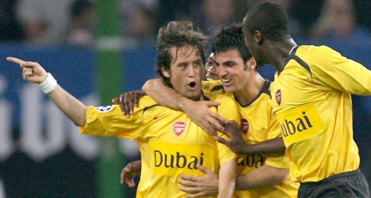 Tomas Rosicky, Cesc Fabregas and Johan Djourou celebrate Arsenal's second goal against Hamburg. September 2006.