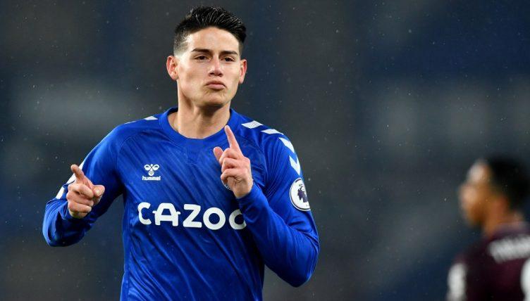 James Rodriguez celebrates scoring a goal for Everton. January 2021.