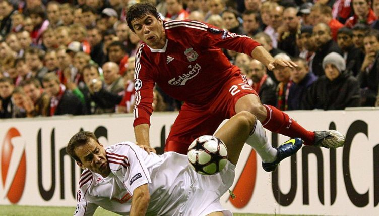 Emiliano Insua of Liverpool battles for the ball during the game against Debrecen. September 2009.