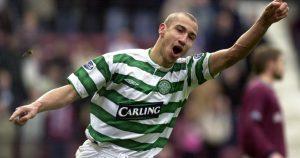 Celtic's Henrik Larsson celebrates scoring against Hearts.