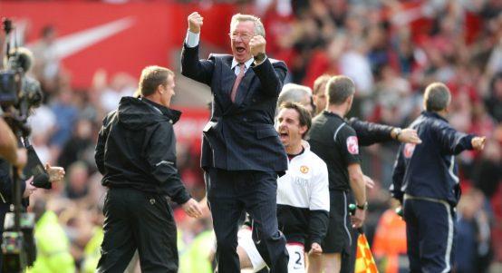 Manchester United manager Sir Alex Ferguson celebrates after Michael Owen scores the winning goal against Manchester City.