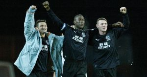 Kevin Campbell celebrating an Everton win