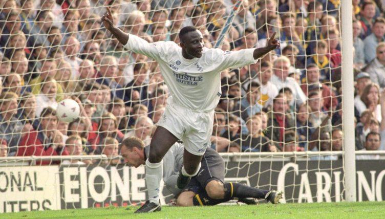Leeds United's Tony Yeboah celebrates goal against Wimbledon
