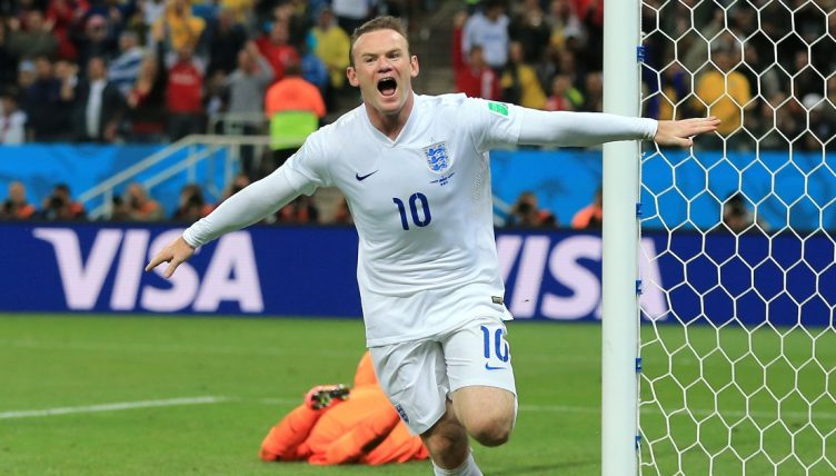 England's Wayne Rooney celebrates after scoring against Uruguay at the 2014 World Cup.