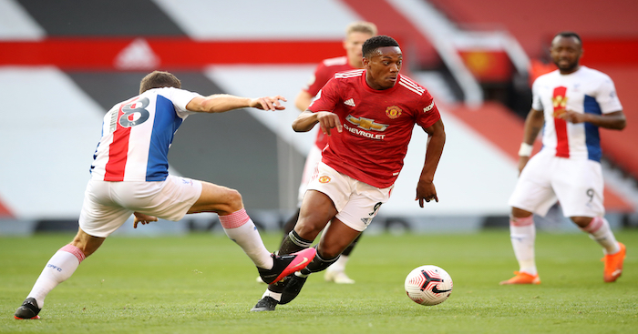 Man United forward Anthony Martial beats Crystal Palace midfielder James McArthur