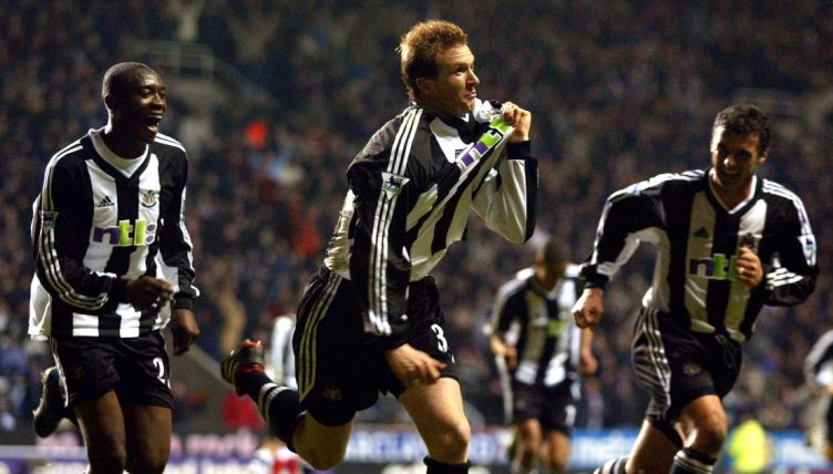 Steven Caldwell celebrates after scoring for Newcastle United.