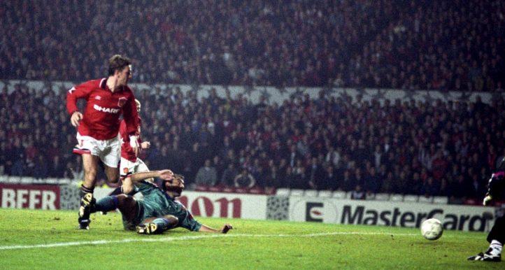 Manchester United's Lee Sharpe scores v Barcelona in 1994.