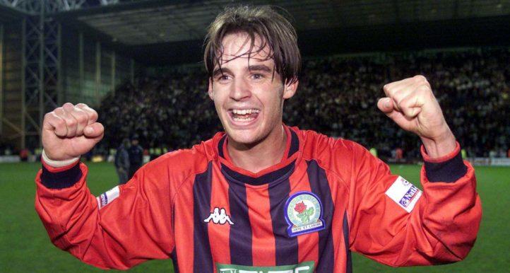Matt Jansen celebrates scoring for Blackburn against Preston in 2002.