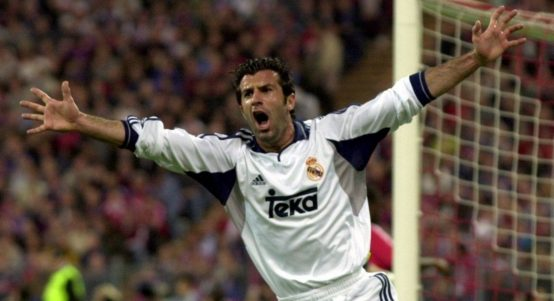 Luis Figo celebrates scoring for Real Madrid against Bayern Munich. May 2001.