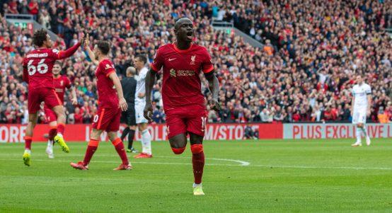 Sadio Mane Celebrating Liverpool Anfield