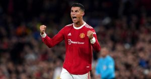 Manchester United's Cristiano Ronaldo celebrates after the final whistle of the UEFA Champions League game against Villarreal.