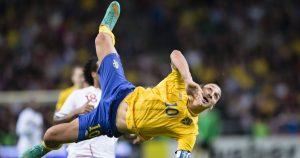 Sweden's Zlatan Ibrahimovic scores overhead kick goal against England