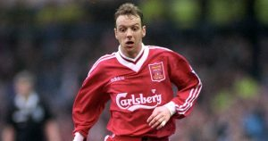 Rob Jones playing for Liverpool against Leeds. March 1996.