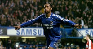 Didier Drogba celebrates scoring for Chelsea v Middlesbrough. Stamford Bridge 2007.