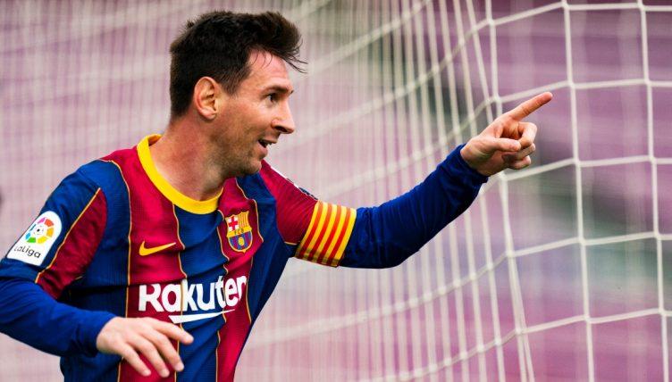 Barcelona's Lionel Messi Celebrating