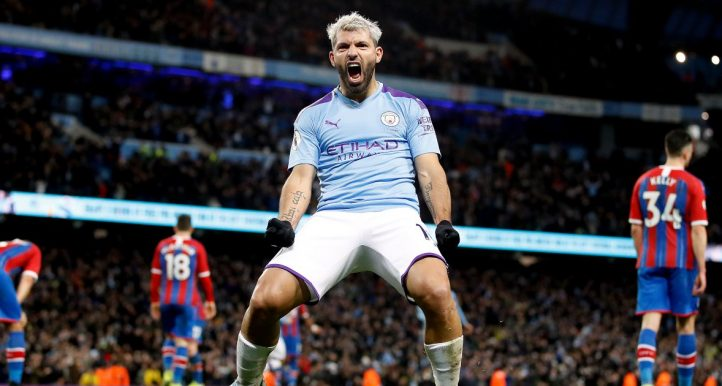 Sergio Aguero celebrates scoring for Manchester City against Crystal Palace in January 2020.