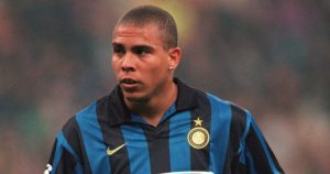 Inter Milan's Ronaldo playing against Spartak Moscow.