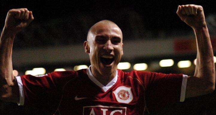 Henrik Larsson celebrates after scoring for Manchester United.