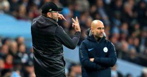 Liverpool's Jurgen Klopp and Manchester City's Pep Guardiola