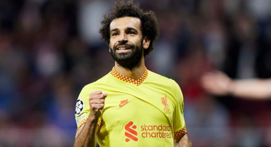 Mohamed Salah celebrates after scoring for Liverpool in the Champions League. October 2021.