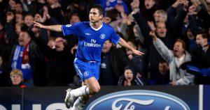 Chelsea's Frank Lampard celebrates after scoring against Barcelona.