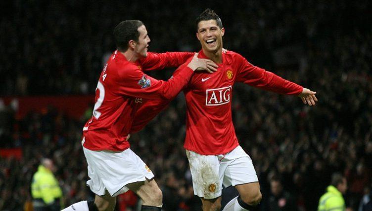 Cristiano Ronaldo celebrates scoring for Manchester United, January 2008.