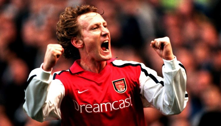 Arsenal's Ray Parlour celebrates after scoring against Newcastle.