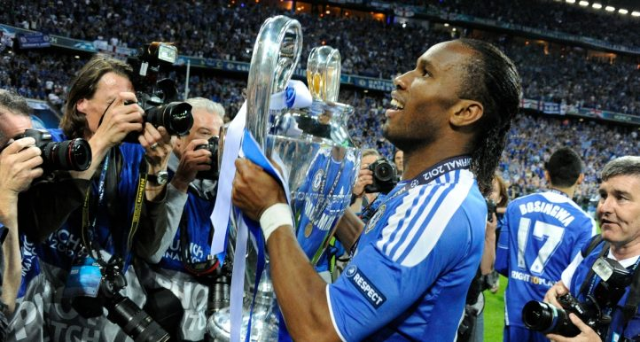 Chelsea's Didier Drogba parades thewith the Champions League trophy after beating Bayern Munich in the 2012 final.