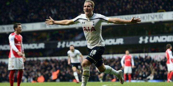 Tottenham's Harry Kane celebrates scoring the winning goal against Arsenal.