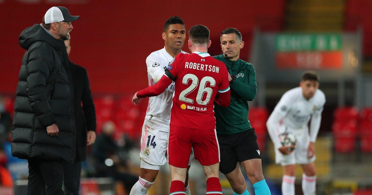 Watch: Robertson fumes at Casemiro after crunching Milner