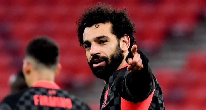 Liverpool's Mohamed Salah Celebrating