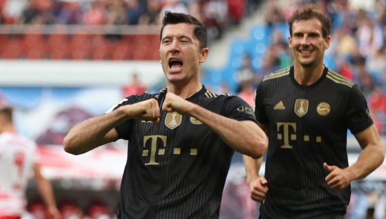 Robert Lewandowski celebrates scoring against RB Leipzig