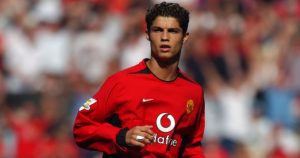 Cristiano Ronaldo makes his Manchester United debut, August 2003.