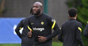 Romelu Lukaku in Chelsea training