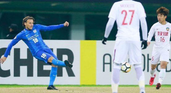 Diego Forlan playing for Hong Kong's KItchee. Hong Kong national stadium, 2018.