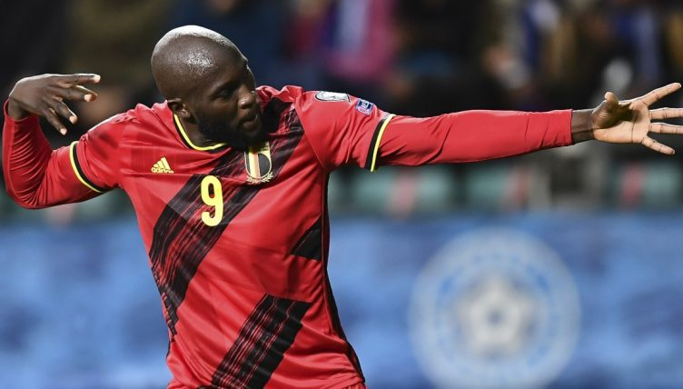 Romelu Lukaku celebrates after scoring for Belgium against Estonia in September 2021.